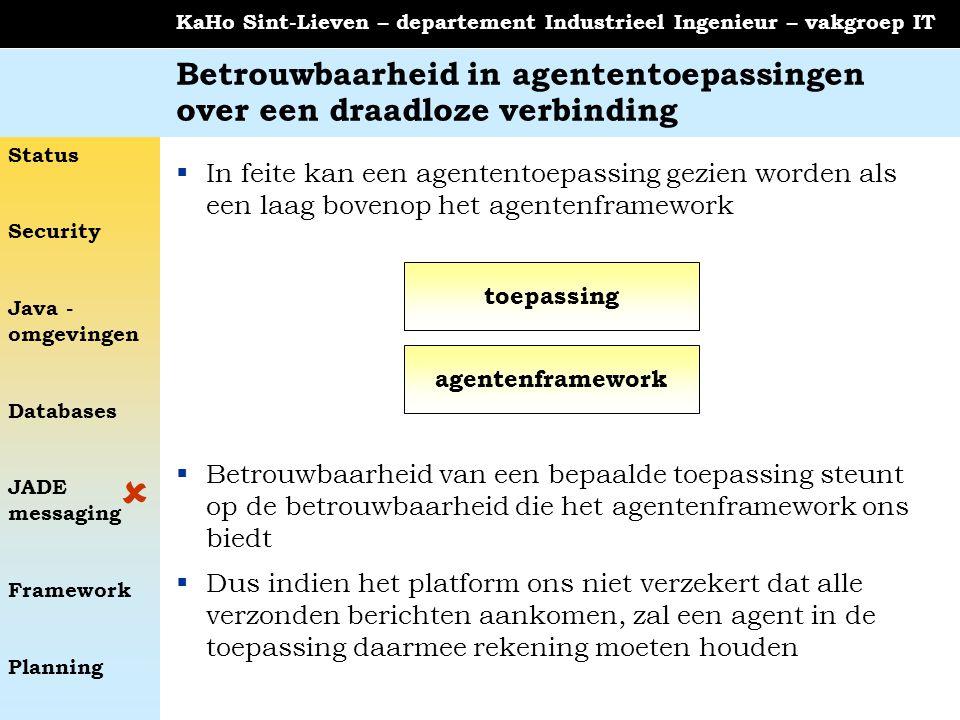 Status Security Java - omgevingen Databases JADE messaging Framework Planning KaHo Sint-Lieven – departement Industrieel Ingenieur – vakgroep IT Betro