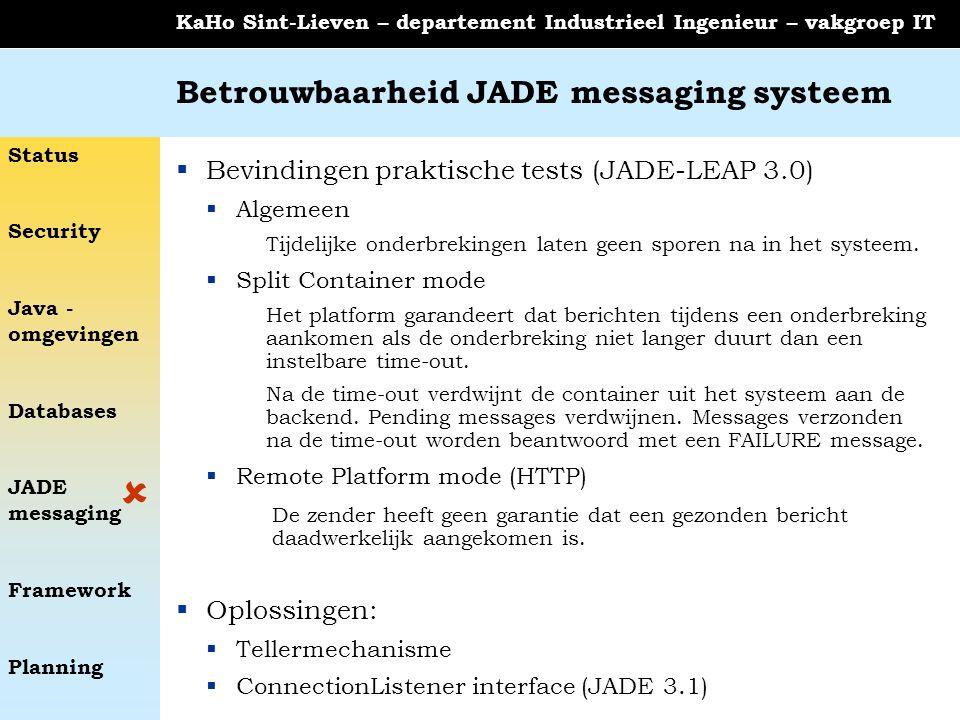 Status Security Java - omgevingen Databases JADE messaging Framework Planning KaHo Sint-Lieven – departement Industrieel Ingenieur – vakgroep IT Betrouwbaarheid JADE messaging systeem  Bevindingen praktische tests (JADE-LEAP 3.0)  Algemeen Tijdelijke onderbrekingen laten geen sporen na in het systeem.