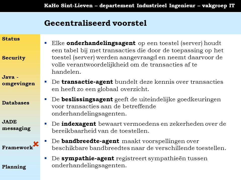 Status Security Java - omgevingen Databases JADE messaging Framework Planning KaHo Sint-Lieven – departement Industrieel Ingenieur – vakgroep IT Gecen