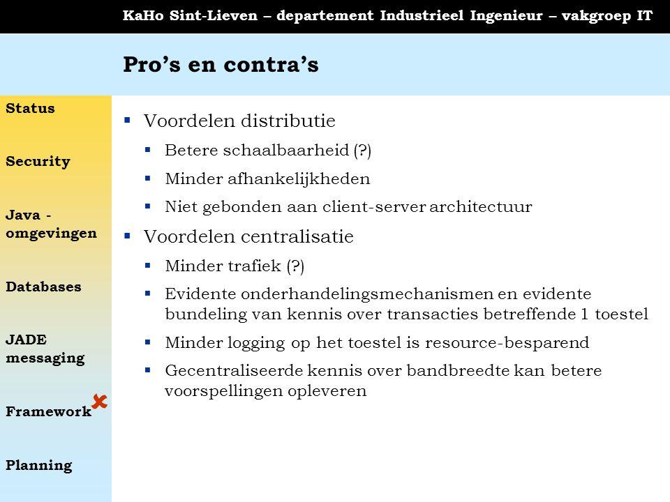 Status Security Java - omgevingen Databases JADE messaging Framework Planning KaHo Sint-Lieven – departement Industrieel Ingenieur – vakgroep IT Pro's