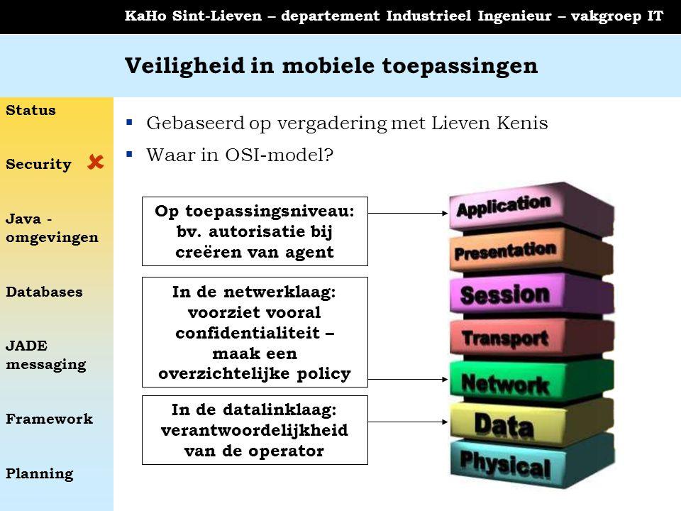 Status Security Java - omgevingen Databases JADE messaging Framework Planning KaHo Sint-Lieven – departement Industrieel Ingenieur – vakgroep IT Veiligheid in mobiele toepassingen  Gebaseerd op vergadering met Lieven Kenis  Waar in OSI-model.