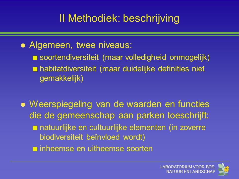 LABORATORIUM VOOR BOS, NATUUR EN LANDSCHAP II Methodiek: beschrijving l Algemeen, twee niveaus: soortendiversiteit (maar volledigheid onmogelijk) habi