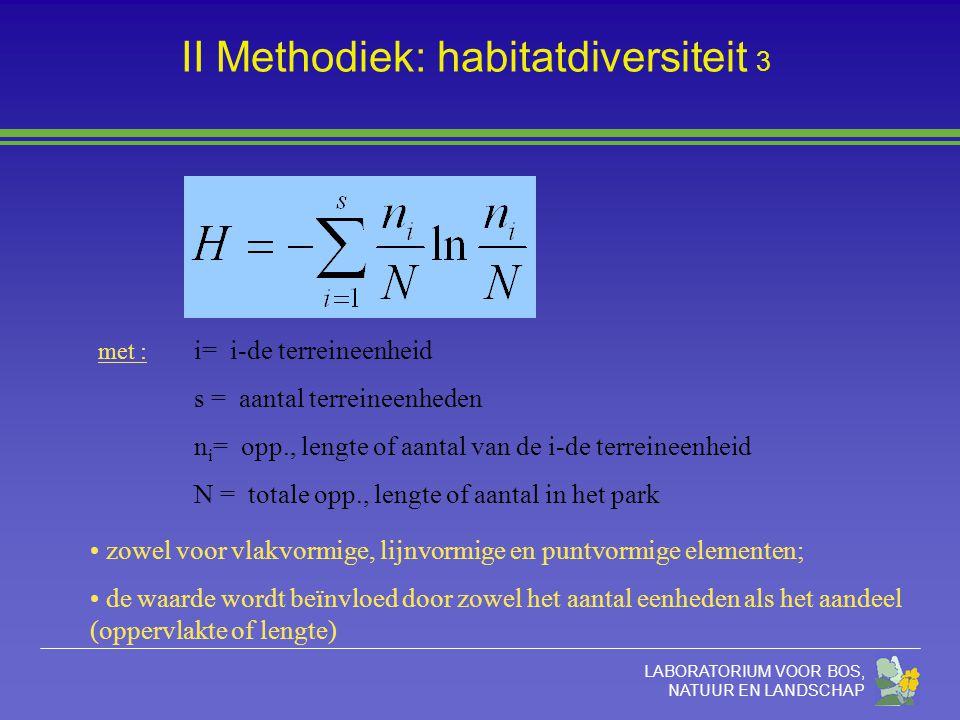 LABORATORIUM VOOR BOS, NATUUR EN LANDSCHAP II Methodiek: habitatdiversiteit 3 met : i= i-de terreineenheid s = aantal terreineenheden n i = opp., lengte of aantal van de i-de terreineenheid N = totale opp., lengte of aantal in het park zowel voor vlakvormige, lijnvormige en puntvormige elementen; de waarde wordt beïnvloed door zowel het aantal eenheden als het aandeel (oppervlakte of lengte)