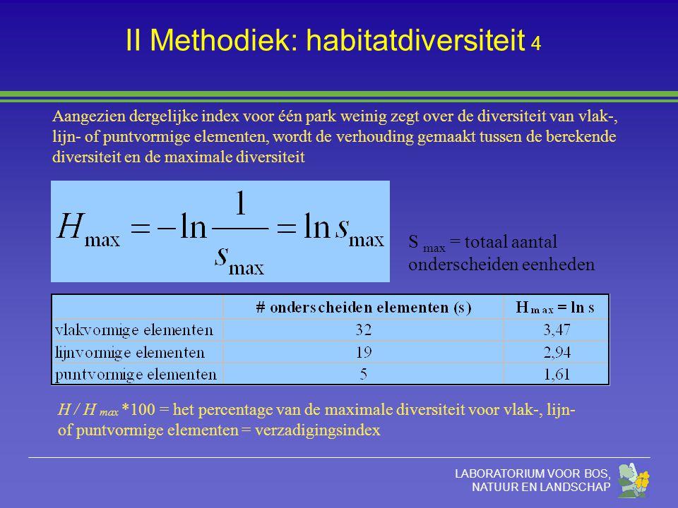 LABORATORIUM VOOR BOS, NATUUR EN LANDSCHAP II Methodiek: habitatdiversiteit 4 S max = totaal aantal onderscheiden eenheden Aangezien dergelijke index voor één park weinig zegt over de diversiteit van vlak-, lijn- of puntvormige elementen, wordt de verhouding gemaakt tussen de berekende diversiteit en de maximale diversiteit H / H max *100 = het percentage van de maximale diversiteit voor vlak-, lijn- of puntvormige elementen = verzadigingsindex