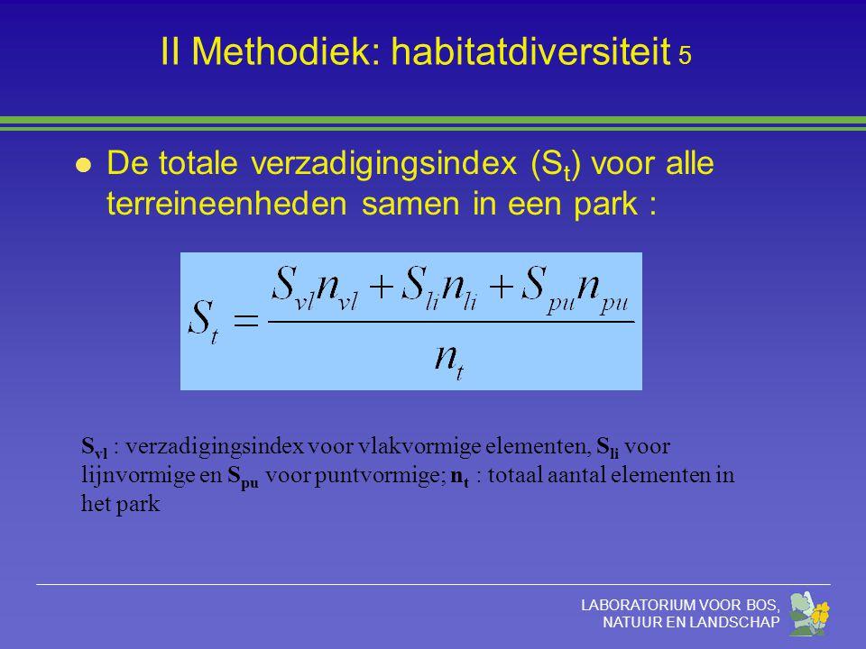 LABORATORIUM VOOR BOS, NATUUR EN LANDSCHAP II Methodiek: habitatdiversiteit 5 S vl : verzadigingsindex voor vlakvormige elementen, S li voor lijnvormi