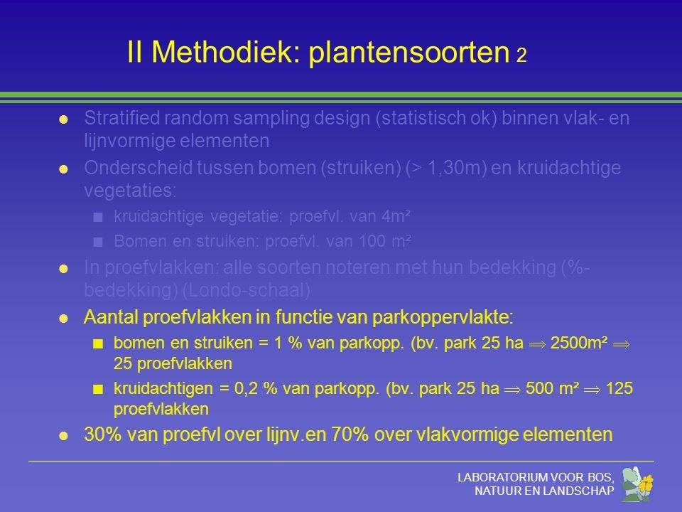 LABORATORIUM VOOR BOS, NATUUR EN LANDSCHAP II Methodiek: plantensoorten 2 l Stratified random sampling design (statistisch ok) binnen vlak- en lijnvor