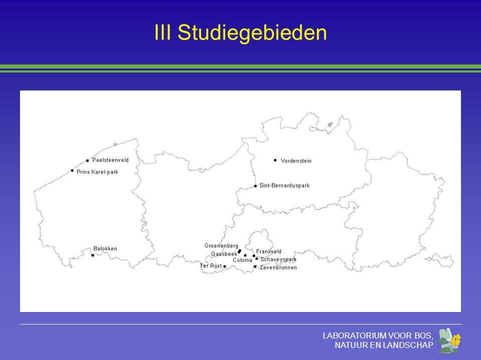 LABORATORIUM VOOR BOS, NATUUR EN LANDSCHAP III Studiegebieden