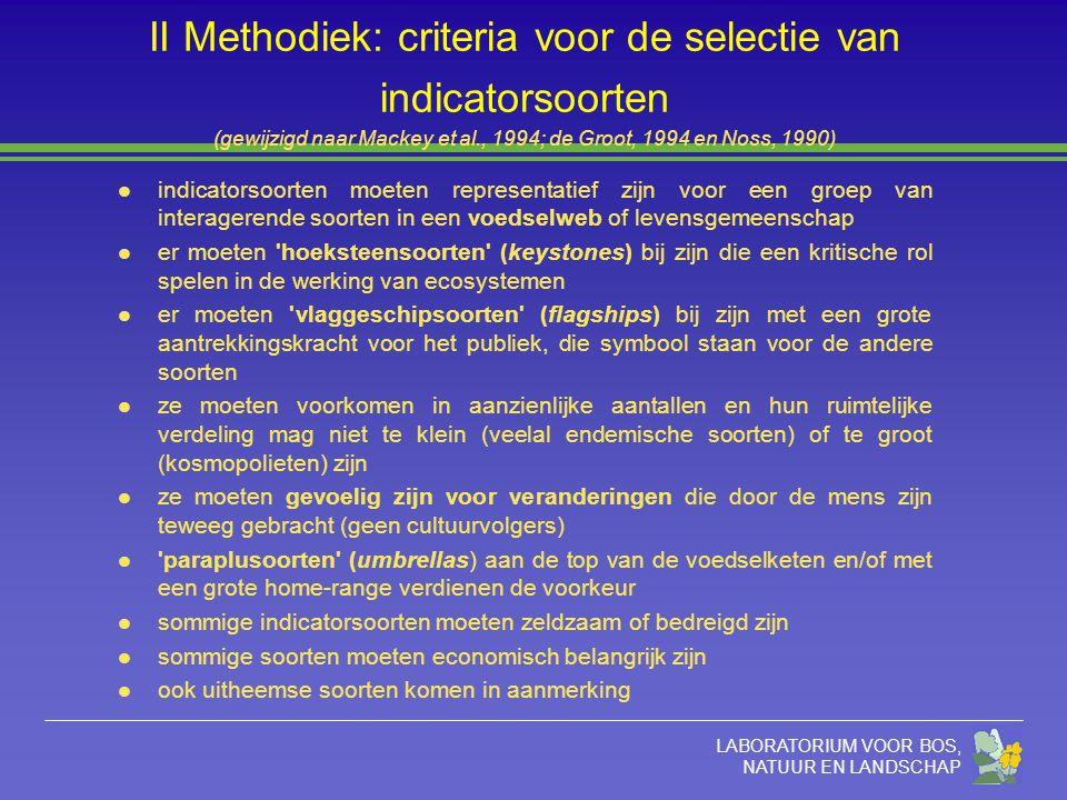LABORATORIUM VOOR BOS, NATUUR EN LANDSCHAP II Methodiek: criteria voor de selectie van indicatorsoorten (gewijzigd naar Mackey et al., 1994; de Groot,