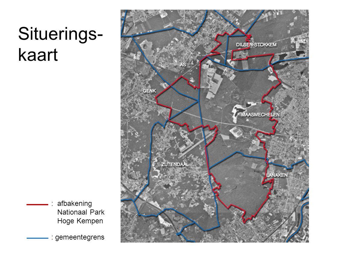 : gemeentegrens : afbakening Nationaal Park Hoge Kempen Situerings- kaart