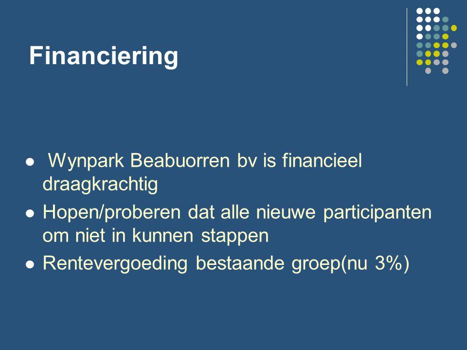 Financiering Wynpark Beabuorren bv is financieel draagkrachtig Hopen/proberen dat alle nieuwe participanten om niet in kunnen stappen Rentevergoeding bestaande groep(nu 3%)