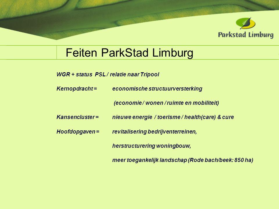 Feiten ParkStad Limburg WGR + status PSL / relatie naar Tripool Kernopdracht = economische structuurversterking (economie / wonen / ruimte en mobilite