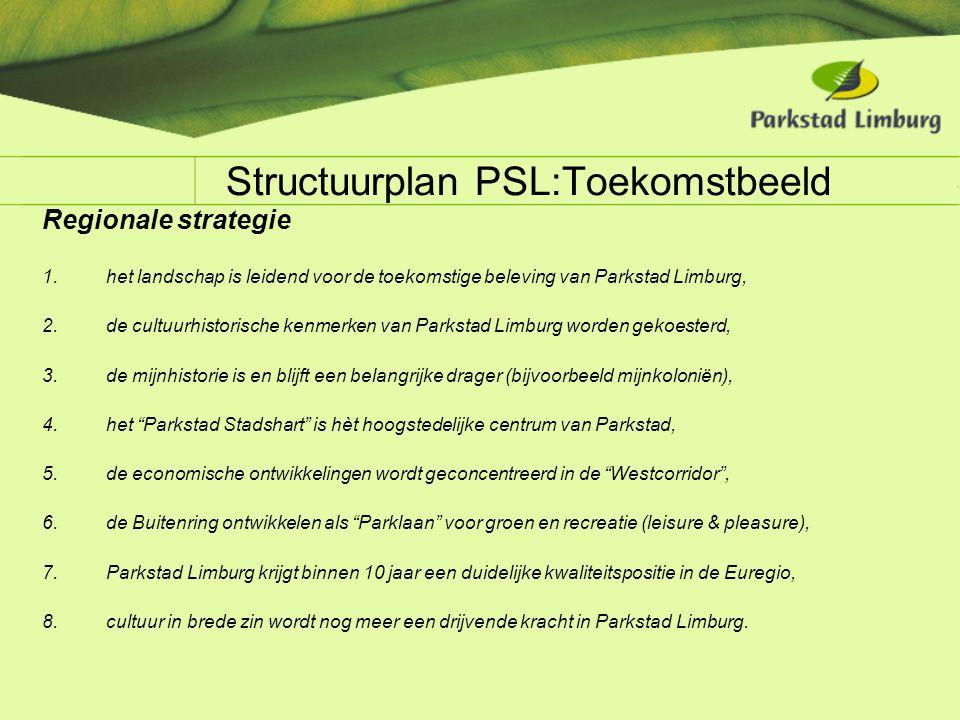 Structuurplan PSL:Toekomstbeeld Regionale strategie 1.het landschap is leidend voor de toekomstige beleving van Parkstad Limburg, 2.de cultuurhistoris