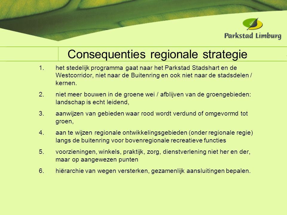 Consequenties regionale strategie 1.het stedelijk programma gaat naar het Parkstad Stadshart en de Westcorridor, niet naar de Buitenring en ook niet n