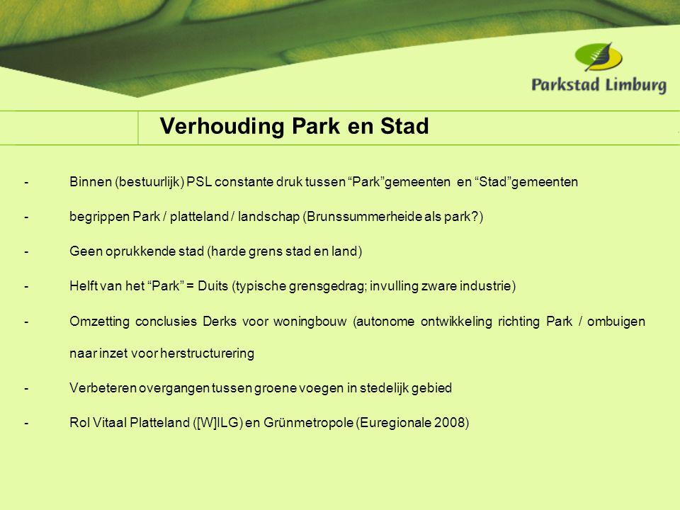"""Verhouding Park en Stad -Binnen (bestuurlijk) PSL constante druk tussen """"Park""""gemeenten en """"Stad""""gemeenten -begrippen Park / platteland / landschap (B"""
