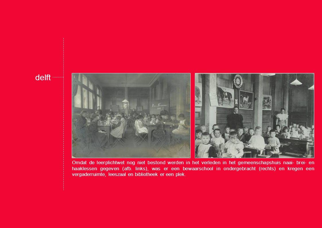 Omdat de leerplichtwet nog niet bestond werden in het verleden in het gemeenschapshuis naai- brei- en haaklessen gegeven (afb.