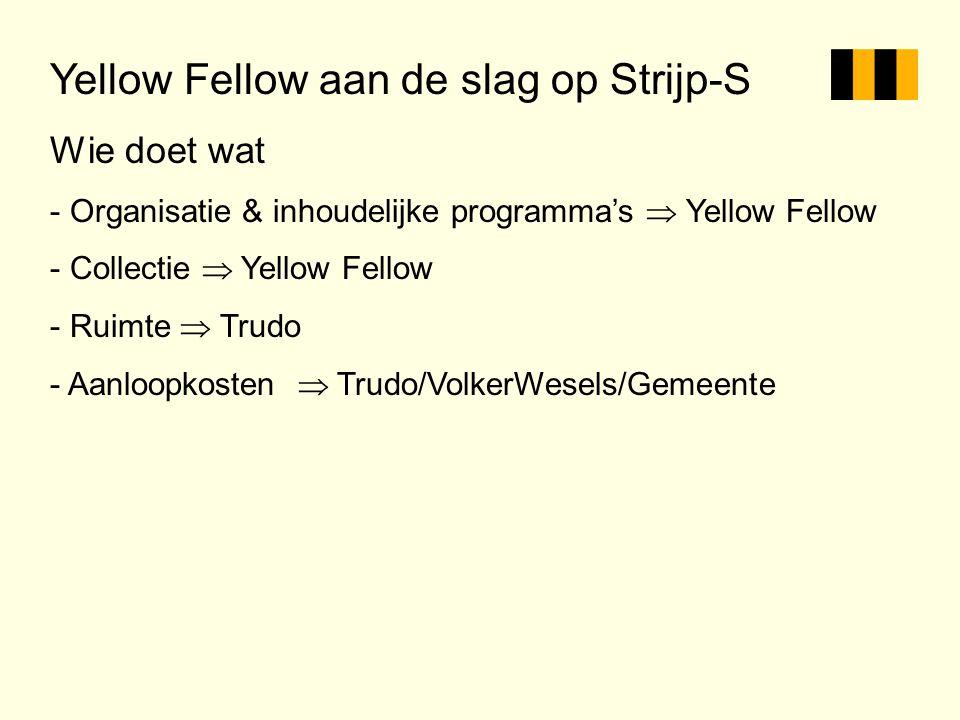 Yellow Fellow aan de slag op Strijp-S Wie doet wat - Organisatie & inhoudelijke programma's  Yellow Fellow - Collectie  Yellow Fellow - Ruimte  Tru