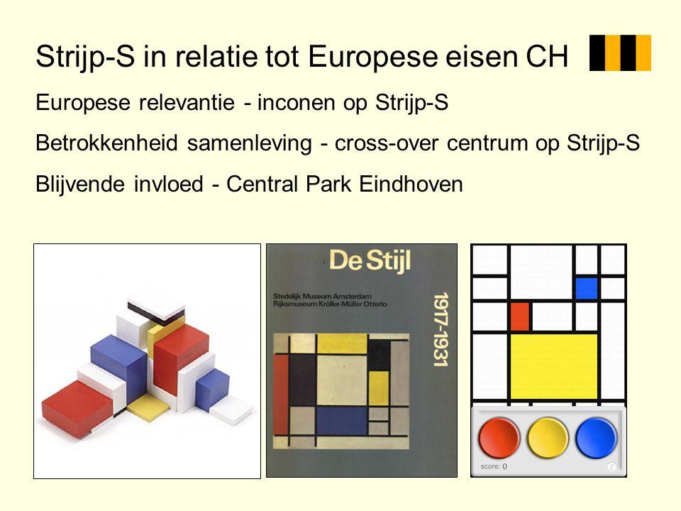 Strijp-S in relatie tot Europese eisen CH Europese relevantie - inconen op Strijp-S Betrokkenheid samenleving - cross-over centrum op Strijp-S Blijven