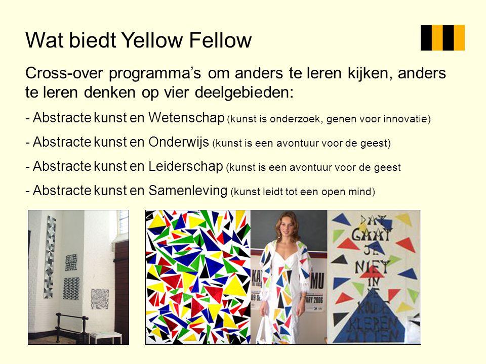 Wat biedt Yellow Fellow Cross-over programma's om anders te leren kijken, anders te leren denken op vier deelgebieden: - Abstracte kunst en Wetenschap