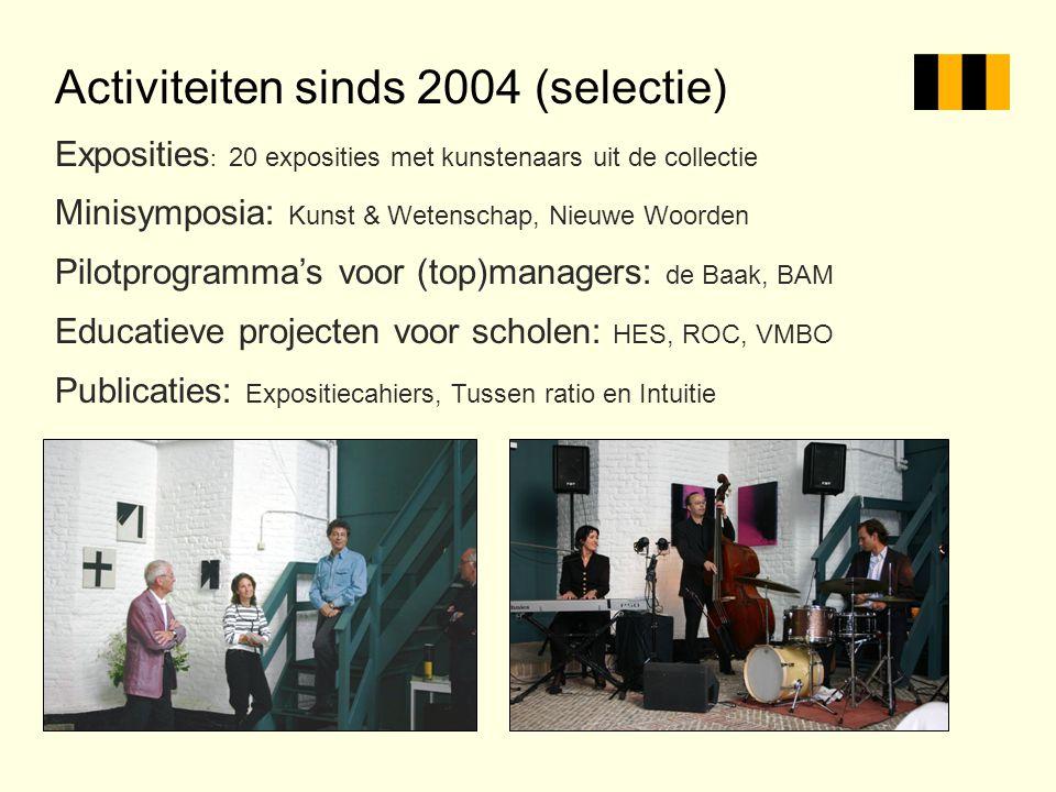 Activiteiten sinds 2004 (selectie) Exposities : 20 exposities met kunstenaars uit de collectie Minisymposia: Kunst & Wetenschap, Nieuwe Woorden Pilotp