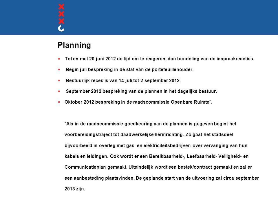 Planning  Tot en met 20 juni 2012 de tijd om te reageren, dan bundeling van de inspraakreacties.  Begin juli bespreking in de staf van de portefeuil
