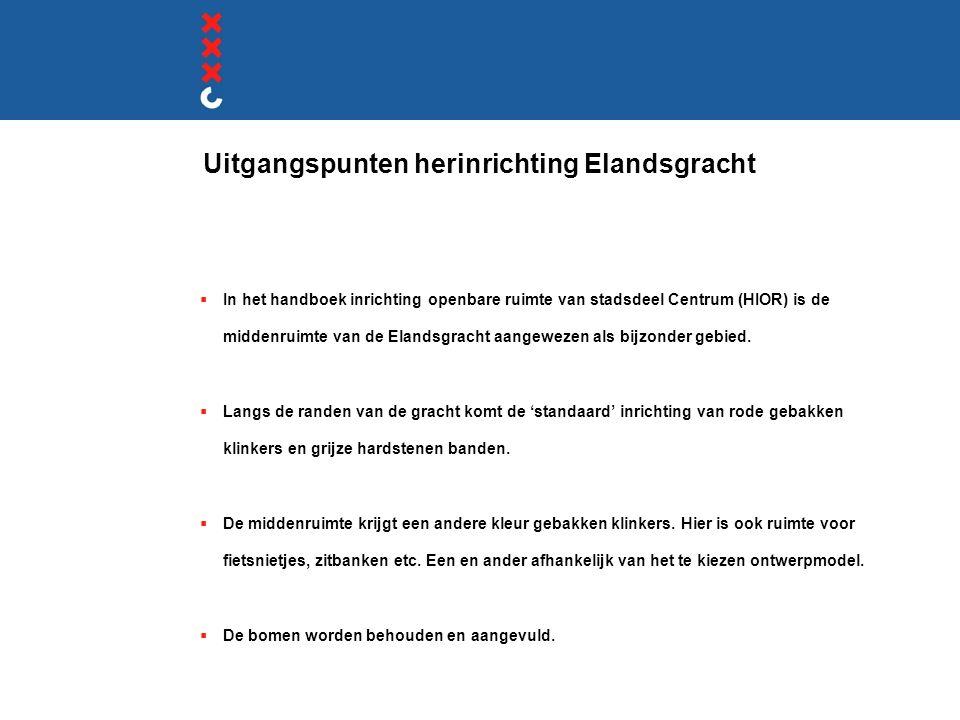 Uitgangspunten herinrichting Elandsgracht  In het handboek inrichting openbare ruimte van stadsdeel Centrum (HIOR) is de middenruimte van de Elandsgr