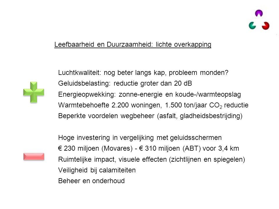 Luchtkwaliteit: nog beter langs kap, probleem monden? Geluidsbelasting: reductie groter dan 20 dB Energieopwekking: zonne-energie en koude-/warmteopsl