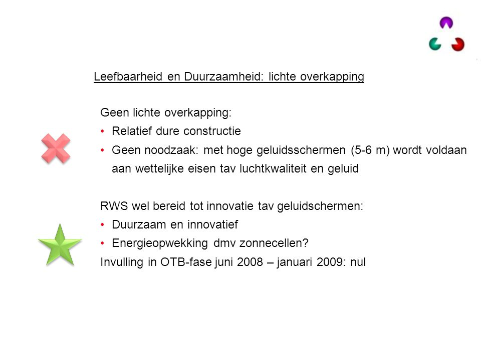 Geen lichte overkapping: Relatief dure constructie Geen noodzaak: met hoge geluidsschermen (5-6 m) wordt voldaan aan wettelijke eisen tav luchtkwalite