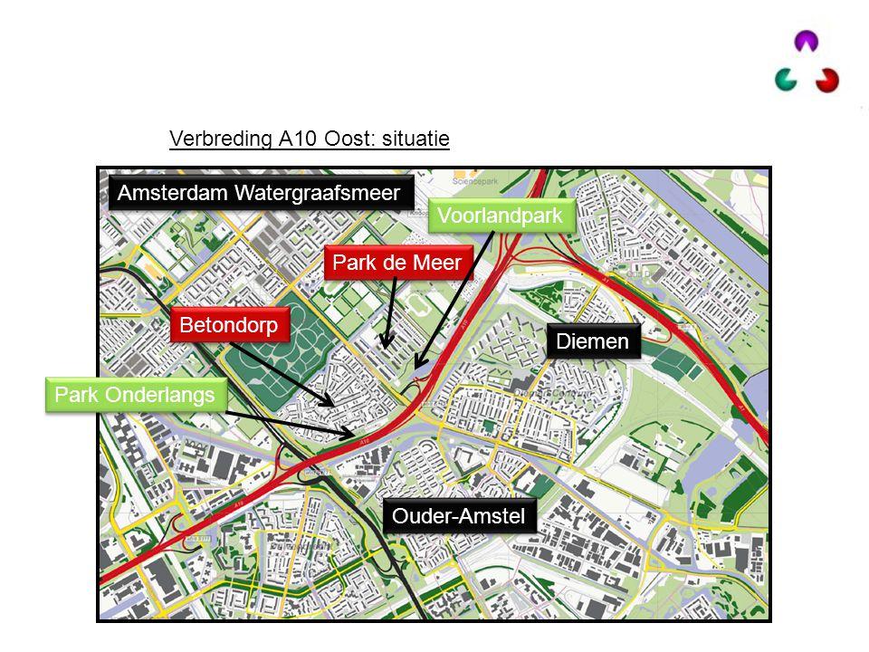 Verbreding A10 Oost: situatie Betondorp Park de Meer Amsterdam Watergraafsmeer Diemen Park Onderlangs Voorlandpark Ouder-Amstel