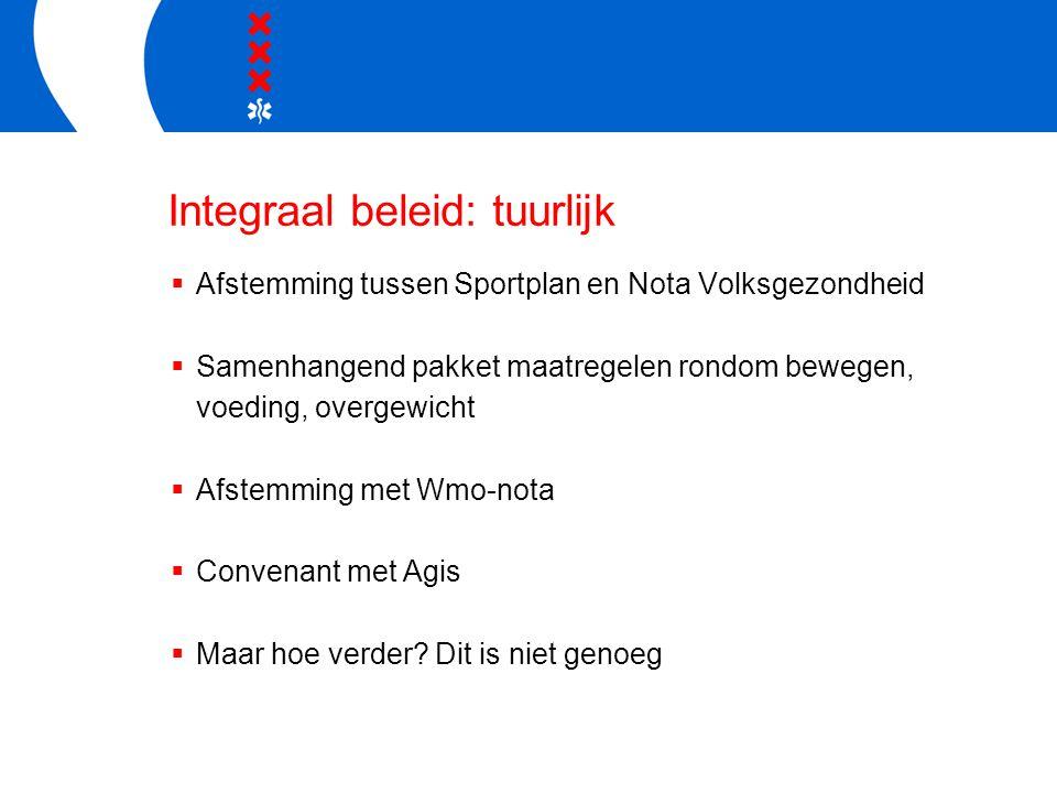 Integraal beleid: tuurlijk  Afstemming tussen Sportplan en Nota Volksgezondheid  Samenhangend pakket maatregelen rondom bewegen, voeding, overgewicht  Afstemming met Wmo-nota  Convenant met Agis  Maar hoe verder.