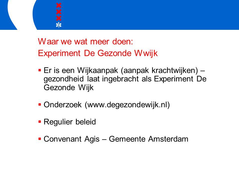 Waar we wat meer doen: Experiment De Gezonde Wwijk  Er is een Wijkaanpak (aanpak krachtwijken) – gezondheid laat ingebracht als Experiment De Gezonde Wijk  Onderzoek (www.degezondewijk.nl)  Regulier beleid  Convenant Agis – Gemeente Amsterdam