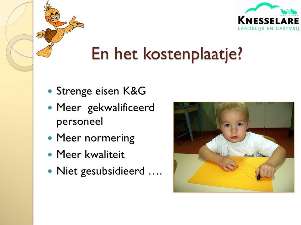 Strenge eisen K&G Meer gekwalificeerd personeel Meer normering Meer kwaliteit Niet gesubsidieerd ….