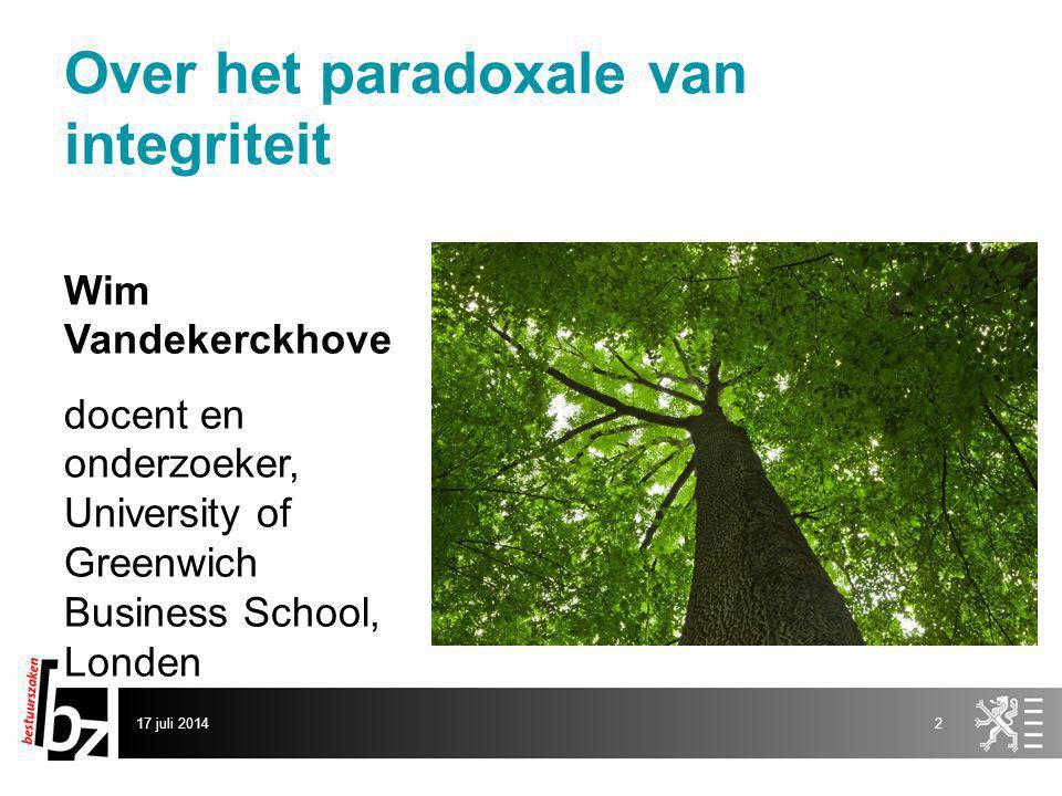Over het paradoxale van integriteit Wim Vandekerckhove docent en onderzoeker, University of Greenwich Business School, Londen 17 juli 20142