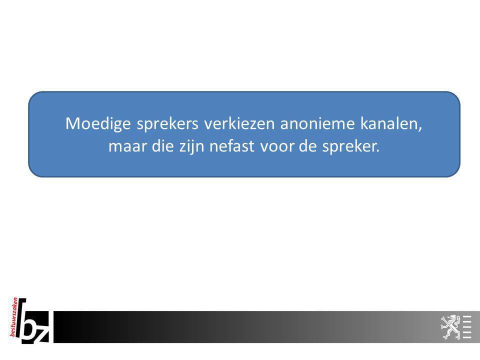 Moedige sprekers verkiezen anonieme kanalen, maar die zijn nefast voor de spreker.