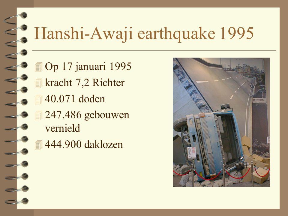 Hanshi-Awaji earthquake 1995 4 Op 17 januari 1995 4 kracht 7,2 Richter 4 40.071 doden 4 247.486 gebouwen vernield 4 444.900 daklozen