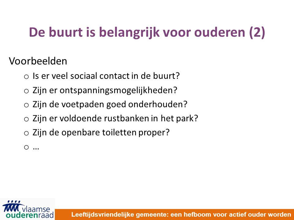 De buurt is belangrijk voor ouderen (2) Voorbeelden o Is er veel sociaal contact in de buurt? o Zijn er ontspanningsmogelijkheden? o Zijn de voetpaden
