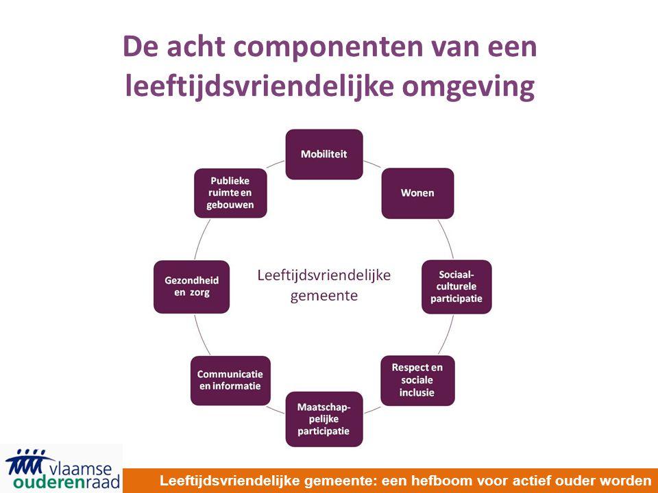 De acht componenten van een leeftijdsvriendelijke omgeving Leeftijdsvriendelijke gemeente: een hefboom voor actief ouder worden