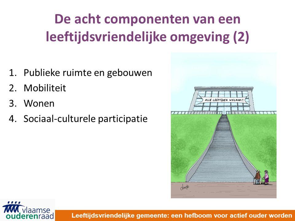 De acht componenten van een leeftijdsvriendelijke omgeving (2) 1.Publieke ruimte en gebouwen 2.Mobiliteit 3.Wonen 4.Sociaal-culturele participatie Leeftijdsvriendelijke gemeente: een hefboom voor actief ouder worden