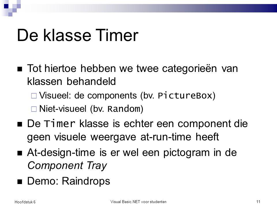 Hoofdstuk 6 Visual Basic.NET voor studenten11 De klasse Timer Tot hiertoe hebben we twee categorieën van klassen behandeld  Visueel: de components (b