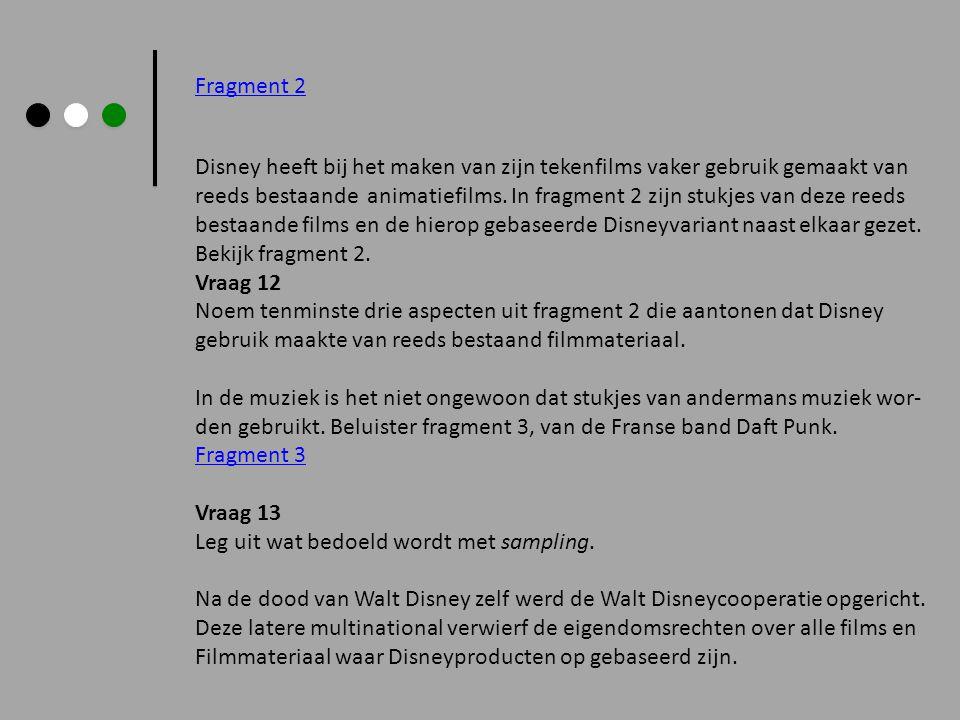 Fragment 2 Disney heeft bij het maken van zijn tekenfilms vaker gebruik gemaakt van reeds bestaande animatiefilms. In fragment 2 zijn stukjes van deze