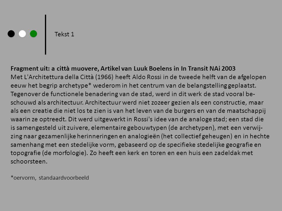 Fragment uit: a città muovere, Artikel van Luuk Boelens in In Transit NAi 2003 Met L'Architettura della Città (1966) heeft Aldo Rossi in de tweede hel