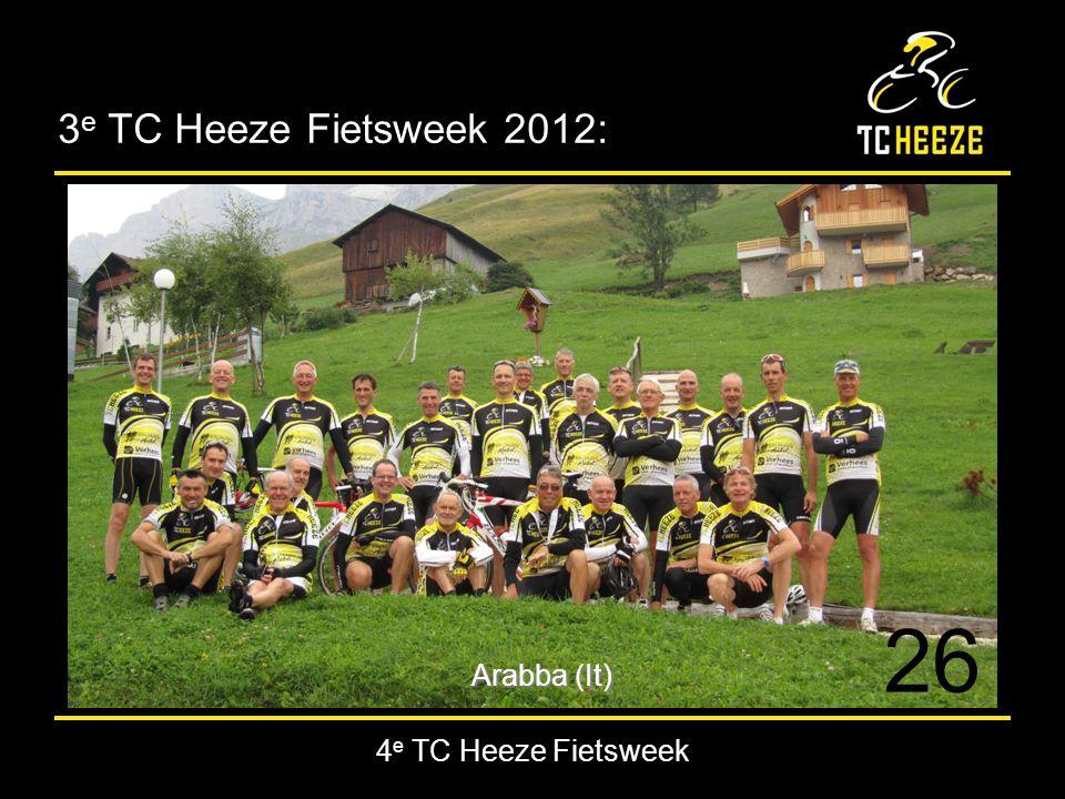 4 e TC Heeze Fietsweek Positieve punten in Fietsweek 2012: Maar liefst 26 enthousiaste deelnemers!.