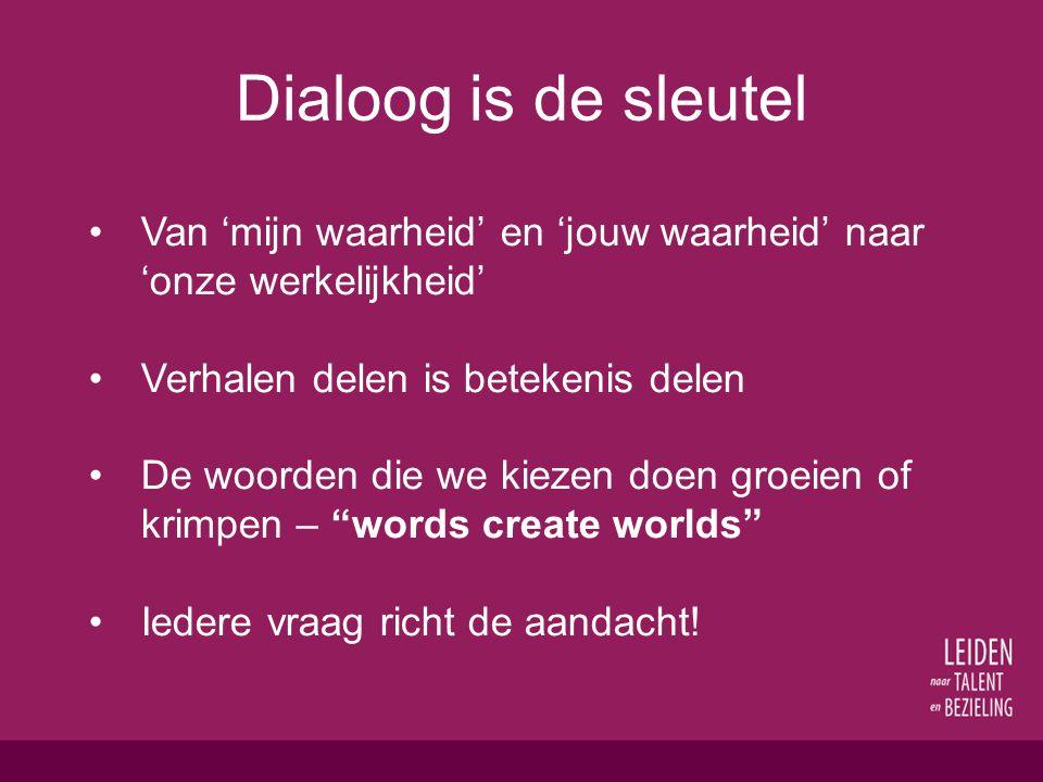 Dialoog is de sleutel Van 'mijn waarheid' en 'jouw waarheid' naar 'onze werkelijkheid' Verhalen delen is betekenis delen De woorden die we kiezen doen groeien of krimpen – words create worlds Iedere vraag richt de aandacht!