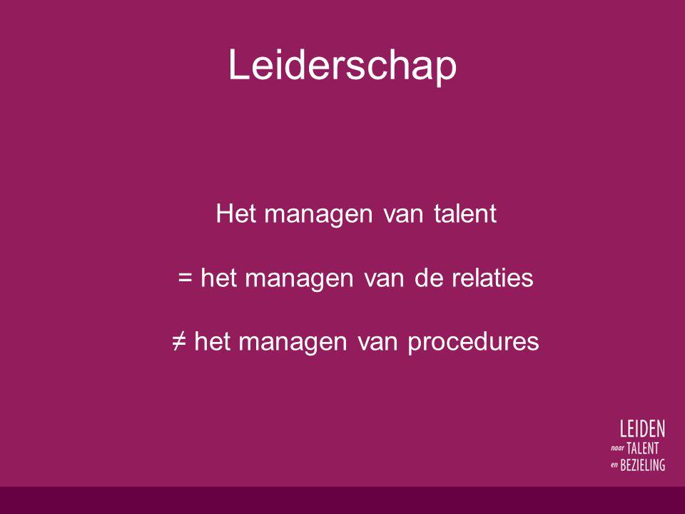 Leiderschap Het managen van talent = het managen van de relaties ≠ het managen van procedures