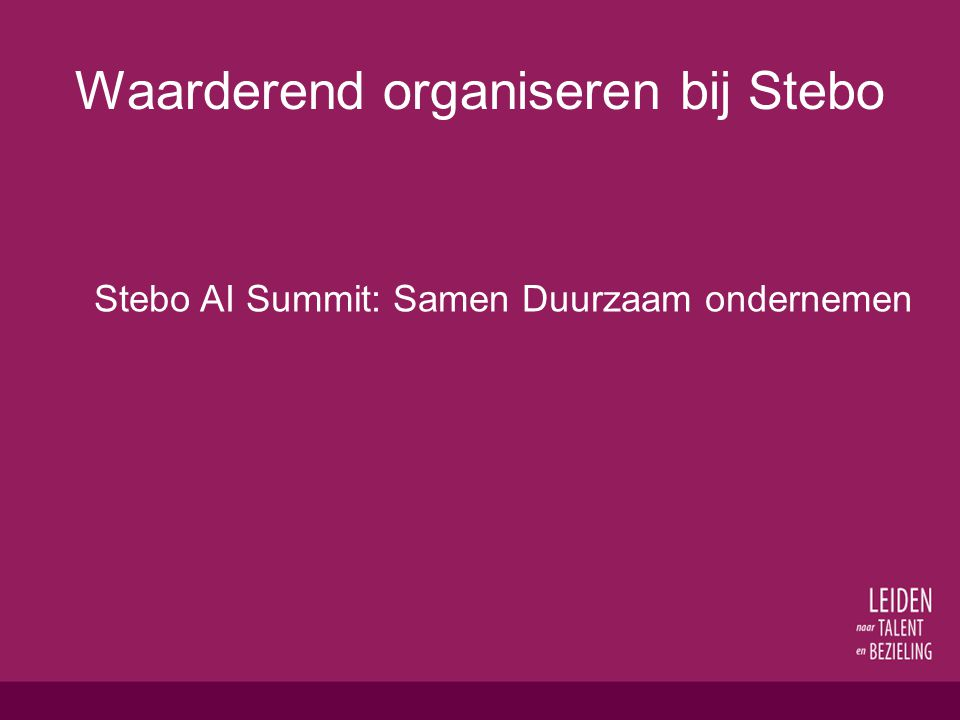Waarderend organiseren bij Stebo Stebo AI Summit: Samen Duurzaam ondernemen