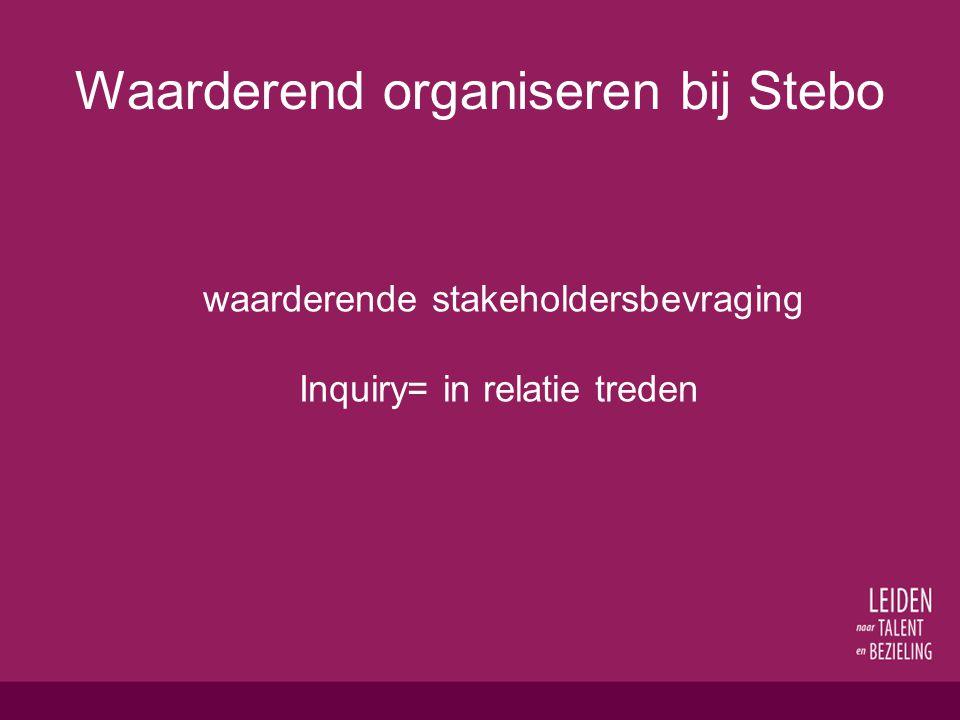 Waarderend organiseren bij Stebo waarderende stakeholdersbevraging Inquiry= in relatie treden
