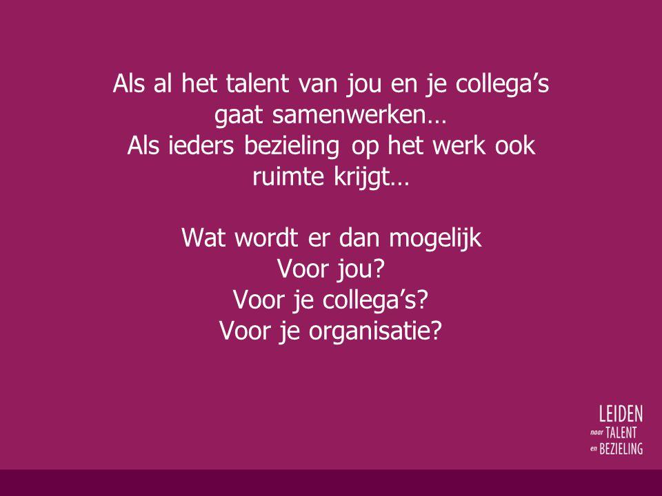 'Competenties, talent, bezieling' Misschien zit 't niet zozeer 'tussen de oren' Maar wel 'tussen de neuzen' (René Bouwen)