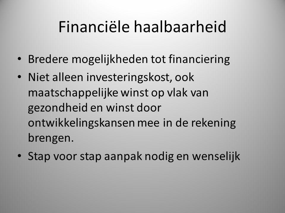 Financiële haalbaarheid Bredere mogelijkheden tot financiering Niet alleen investeringskost, ook maatschappelijke winst op vlak van gezondheid en wins