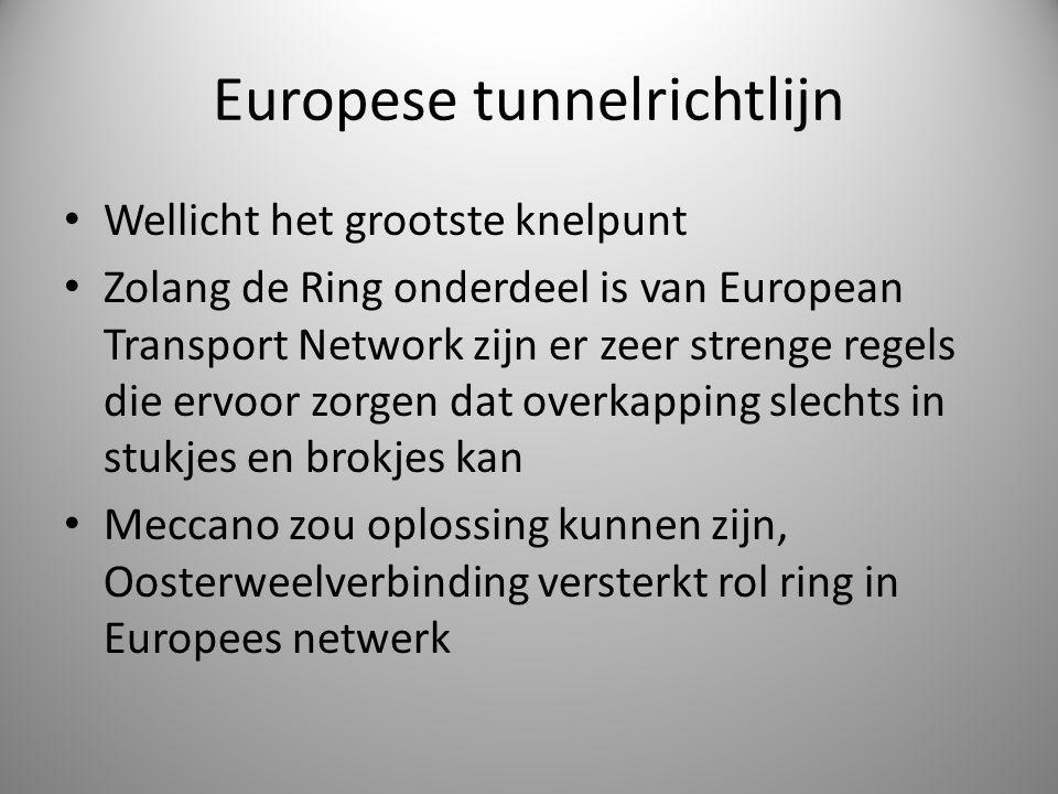 Europese tunnelrichtlijn Wellicht het grootste knelpunt Zolang de Ring onderdeel is van European Transport Network zijn er zeer strenge regels die erv