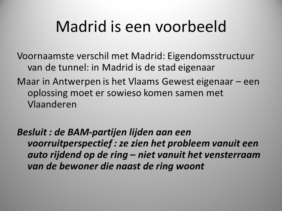 Madrid is een voorbeeld Voornaamste verschil met Madrid: Eigendomsstructuur van de tunnel: in Madrid is de stad eigenaar Maar in Antwerpen is het Vlaa