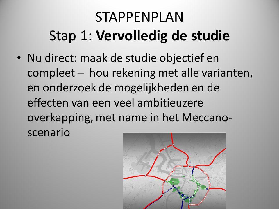 STAPPENPLAN Stap 1: Vervolledig de studie Nu direct: maak de studie objectief en compleet – hou rekening met alle varianten, en onderzoek de mogelijkh